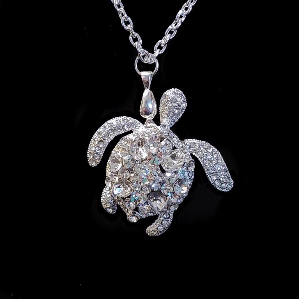 Clear Sea Turtle Necklace Featuring Swarovski © Crystals Close Up