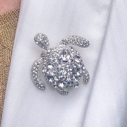 Clear Crystallized Turtle Brooch Pin