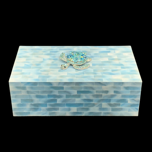 Aquamarine Mother of Pearl Jewelry Box Featuring Crystallized Turtle