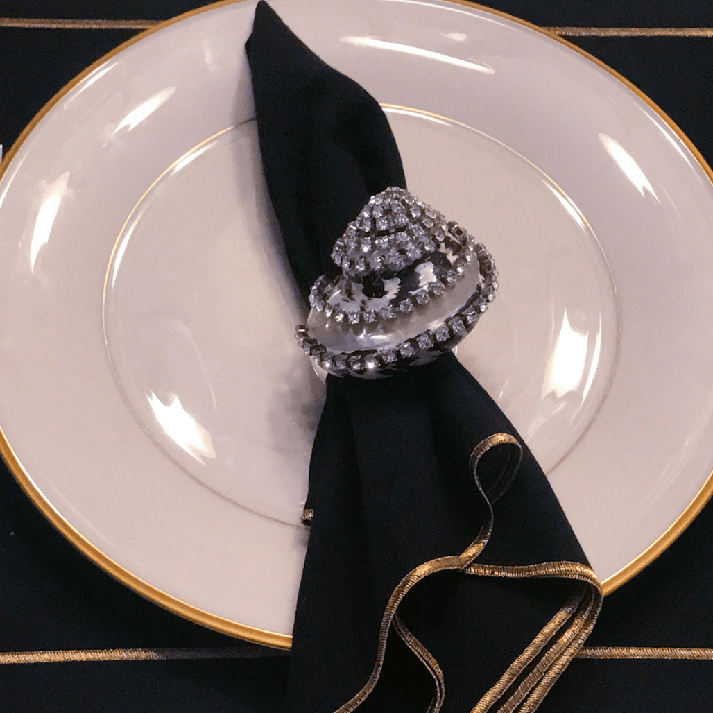 Banded Black Pica Shell Napkin Ring Featuring Swarovski © Crystal / Set of 4