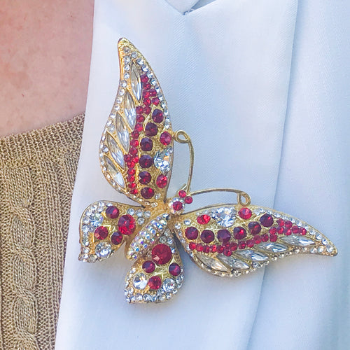 Crystallized Butterfly Brooch Pin Featuring Swarovski © Crystals