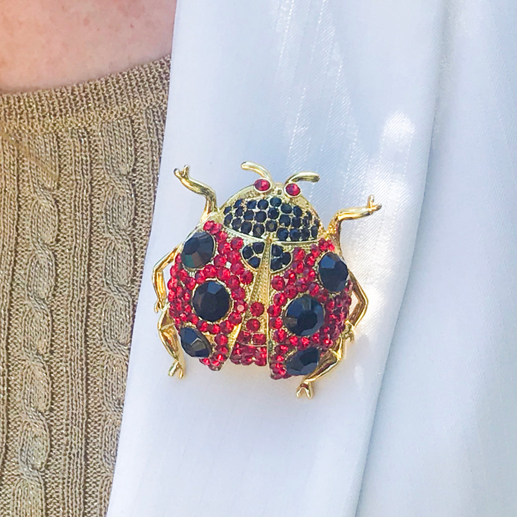 Crystallized Lady Bug Pin Featuring Swarovski © Crystals