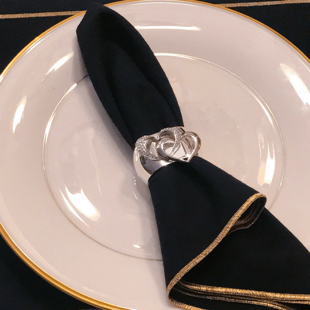 Locking Hearts Napkin Rings Featuring Swarovski © Crystals | Set of 4