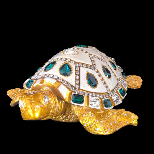Sea Turtle Sculpture Featuring Emerald & Clear Swarovski © Crystal / Signed & Numbered