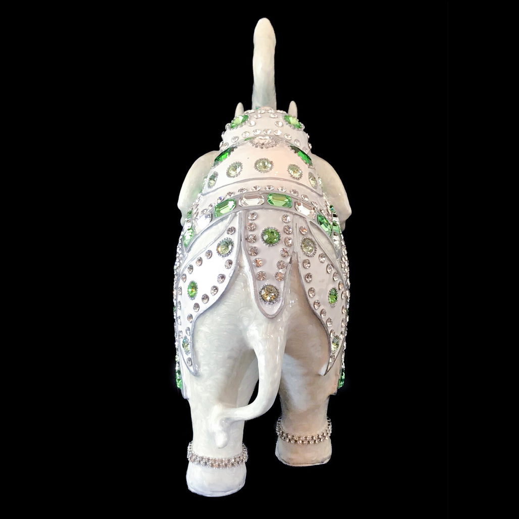 1205c7c19 Parade Elephant Statuette Featuring Emerald & Clear Swarovski © Crystals &  Silver Trim Lining
