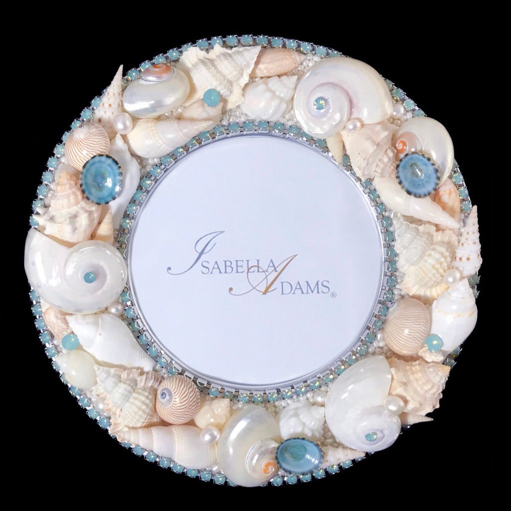 "6"" Round Seashell Picture Frame Featuring Pacific Opal Swarovski © Crystals"