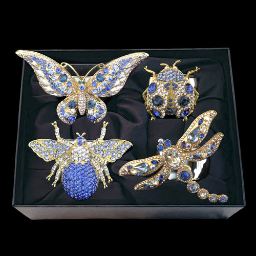 Montana Blue Mixed Bug Napkin Rings Featuring Swarovski © Crystal / Set of 4