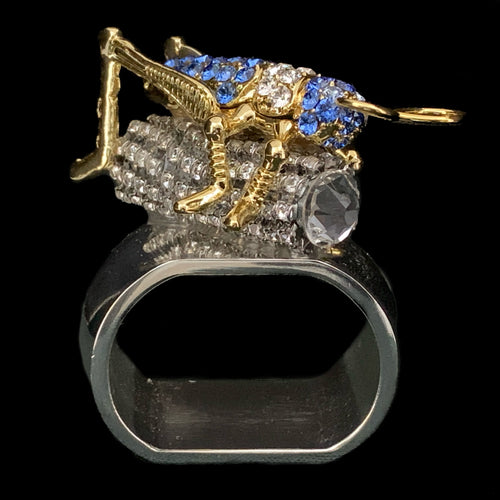 Sapphire Cricket Napkin Ring Featuring Swarovski © Crystal / Set of 4