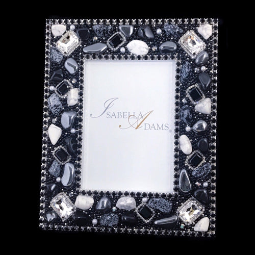4 x 6 Picture Frame Featuring Jet Swarovski © Crystals and Polished Gemstones
