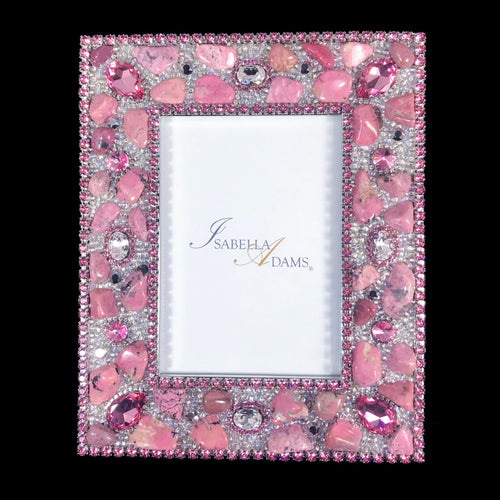4 x 6 Picture Frame Featuring Light Rose Swarovski © Crystals and Polished Gemstones