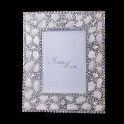 4 x 6 Picture Frame Featuring Clear Swarovski © Crystals and Polished Gemstones