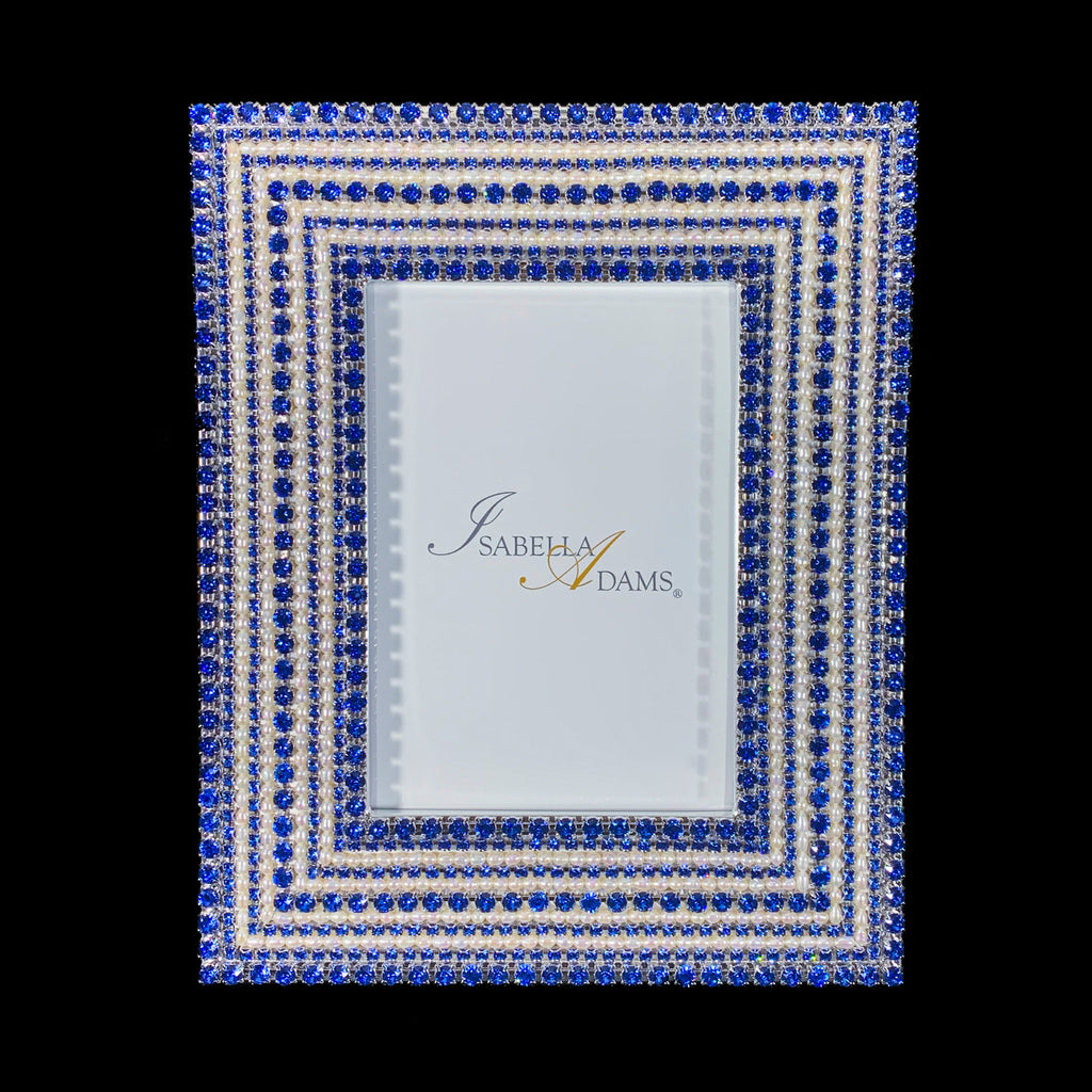 4 x 6  Picture Frame Featuring Sapphire Swarovski © Crystals and Freshwater Pearls