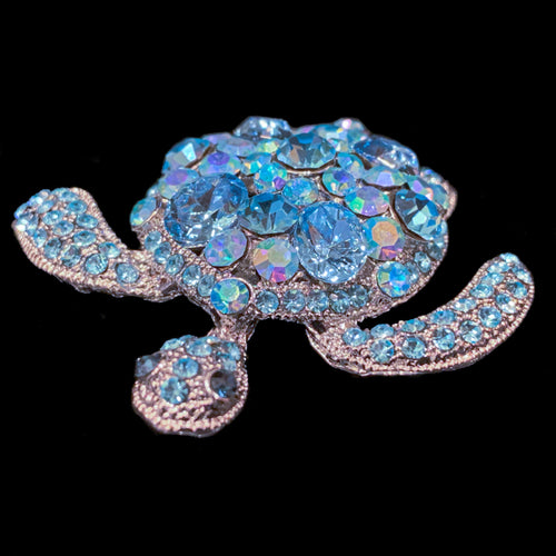 Small Aquamarine Sea Turtle Paperweight Collectible Featuring Swarovski © Crystals