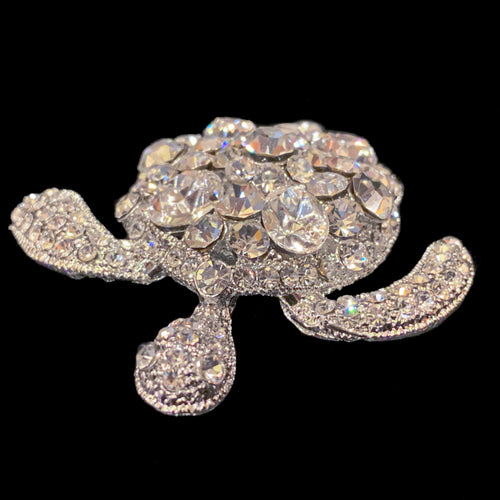 Small Clear Sea Turtle Paperweight Collectible Featuring Swarovski © Crystals