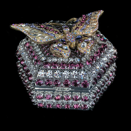 Amethyst Butterfly Hexagon Ring Box Featuring Swarovski © Crystals