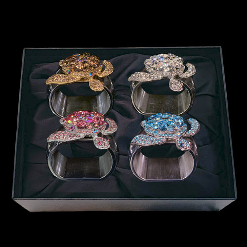 Turtle Mix Set Napkin Rings Featuring Swarovski © Crystals | Sets of 4