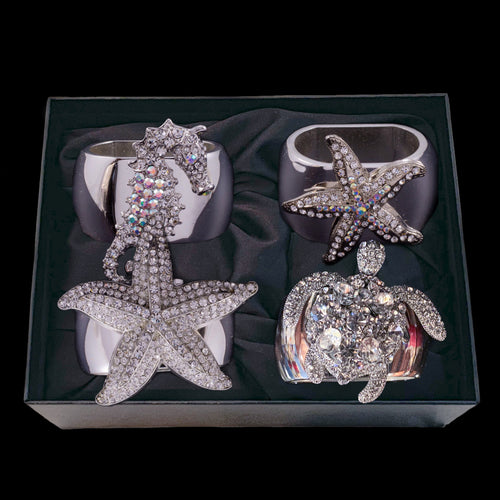 Sea Animal Mix Set Napkin Rings Featuring Swarovski © Crystals | Sets of 4