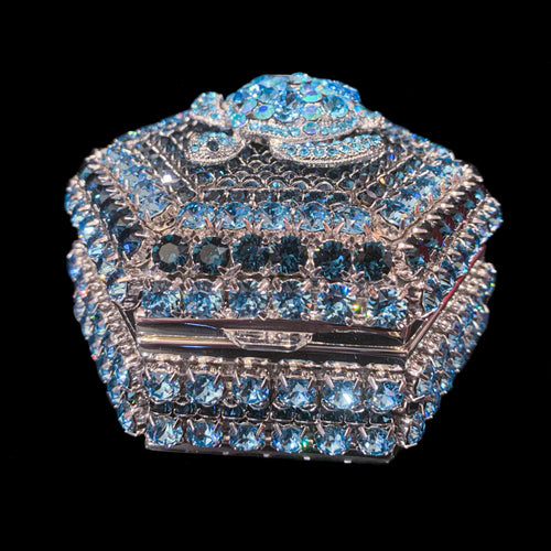 Aquamarine & Sapphire Turtle Hexagon Box Featuring Swarovski © Crystals