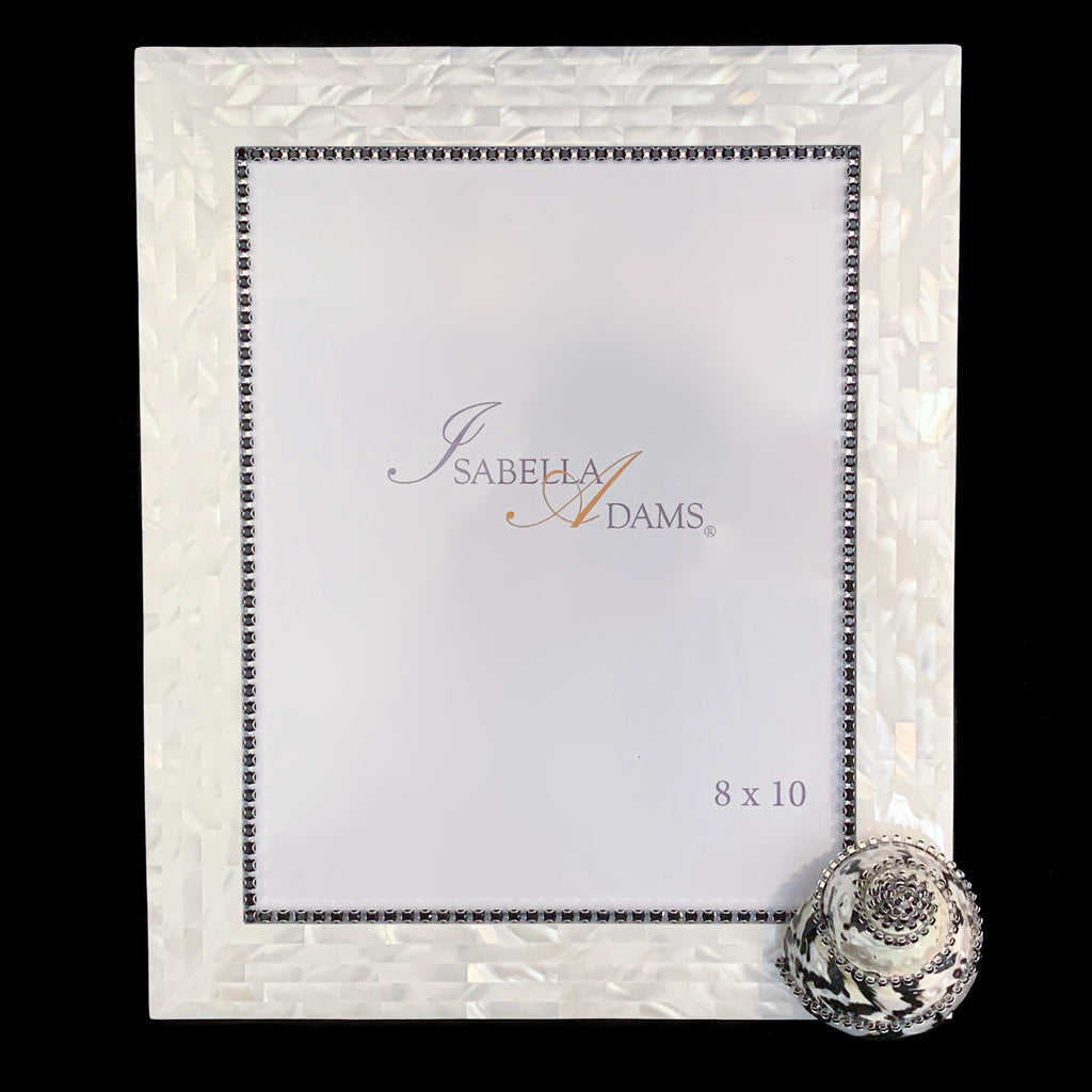 8 x 10 Mother of Pearl Black Pica Picture Frame Featuring Jet Swarovski © Crystals
