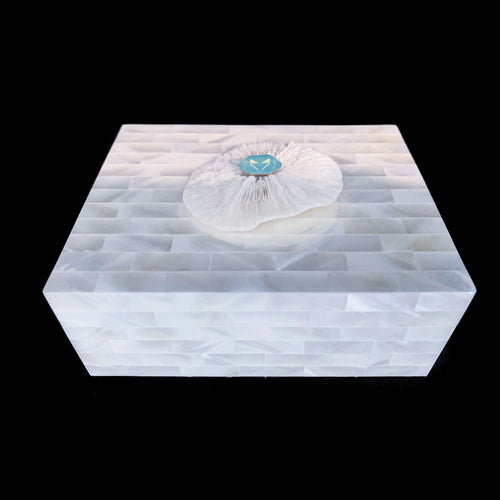 Mother of Pearl Flower Coral Keepsake Box Featuring Swarovski © Crystal