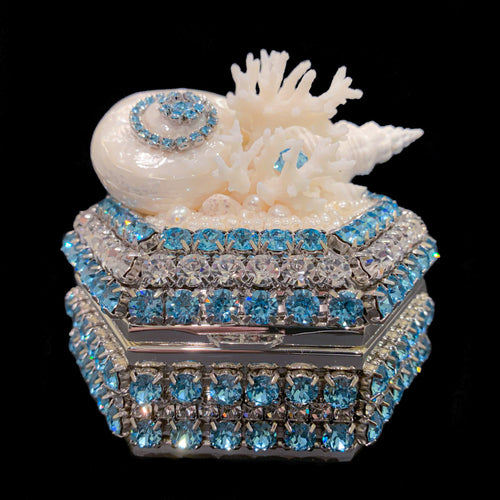 Aquamarine Hexagon Box Featuring Swarovski ® Crystals and Natural Seashells
