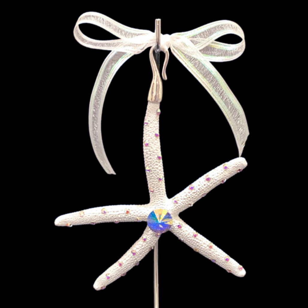 Crystallized Pencil Starfish Christmas Ornament featuring AB Swarovski © Crystal
