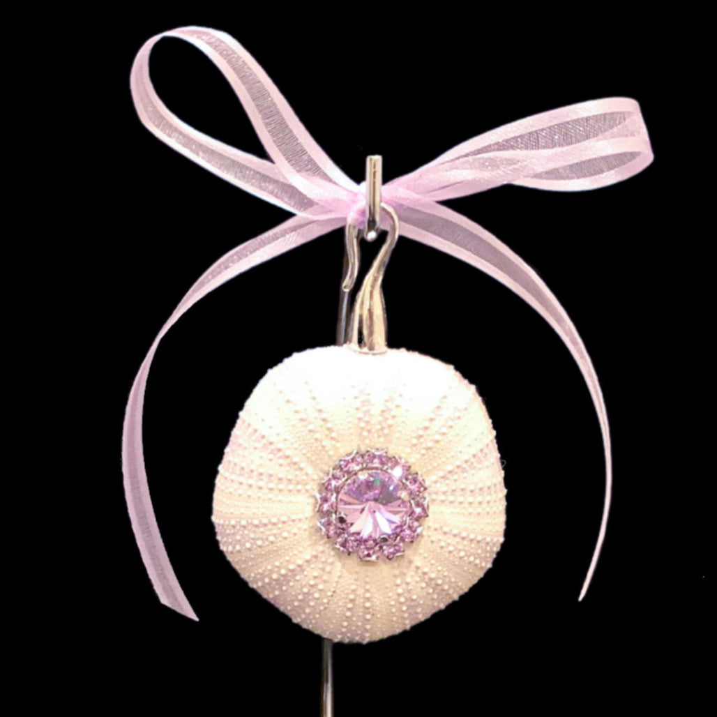 Violet Crystallized Sea Urchin Christmas Ornament