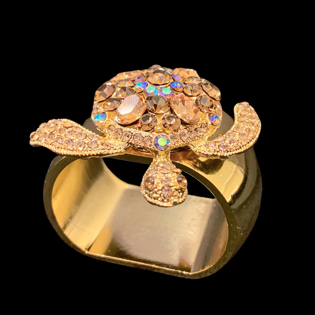 Topaz Gold Sea Turtle Napkin Ring Featuring Swarovski © Crystal | Set of 4