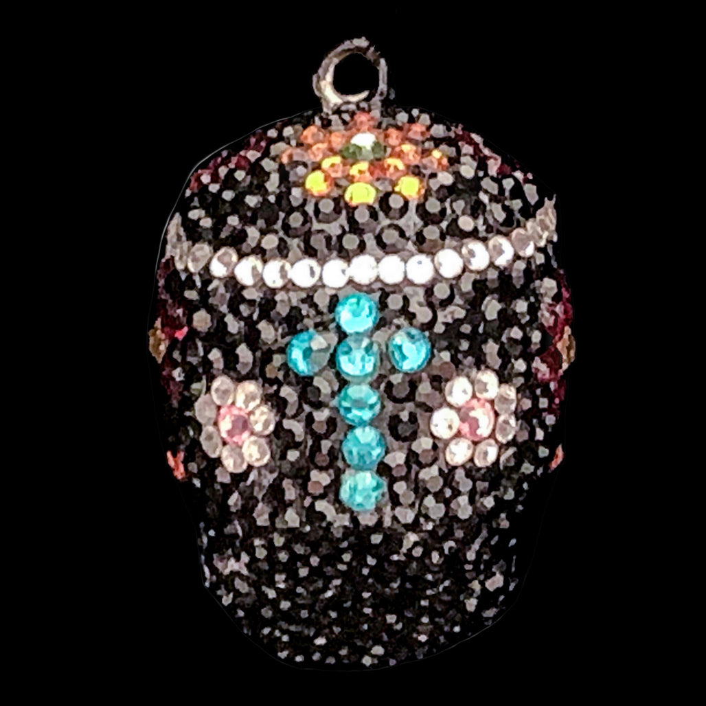 Black and Clear Sugar Skull Halloween Ornaments Featuring Swarovski © Crystals