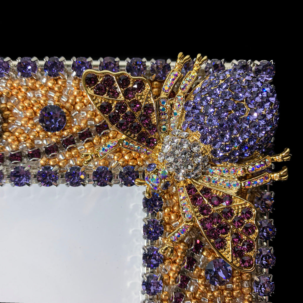 8 x 10 Tanzanite / Gold Crystallized Bug Picture Frame Featuring Swarovski © Crystal
