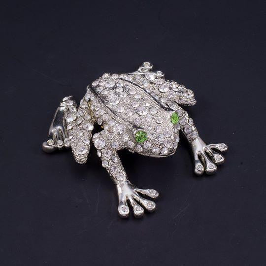 Rivet the Frog Paperweight Collectible Featuring Swarovski © Crystals | Peridot