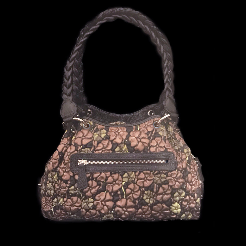 Bronze and Green Floral Embossed Leather Kelly Bag