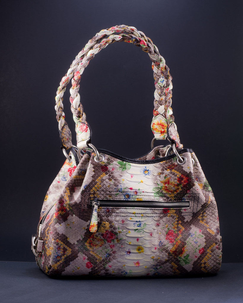Python Embossed Leather Kelly Bag | Spring Flower Paint