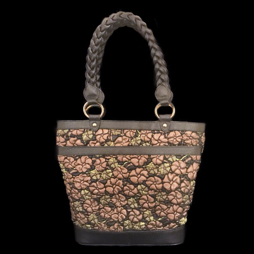 Bronze and Green Floral Embossed Leather Shopper Bag
