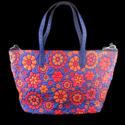 Red and Blue Floral Embossed Leather Travel Tote Bag