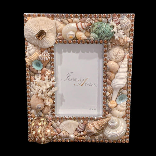 4 x 6 Topaz Mix Seashell Picture Frame Featuring Swarovski ® Crystals