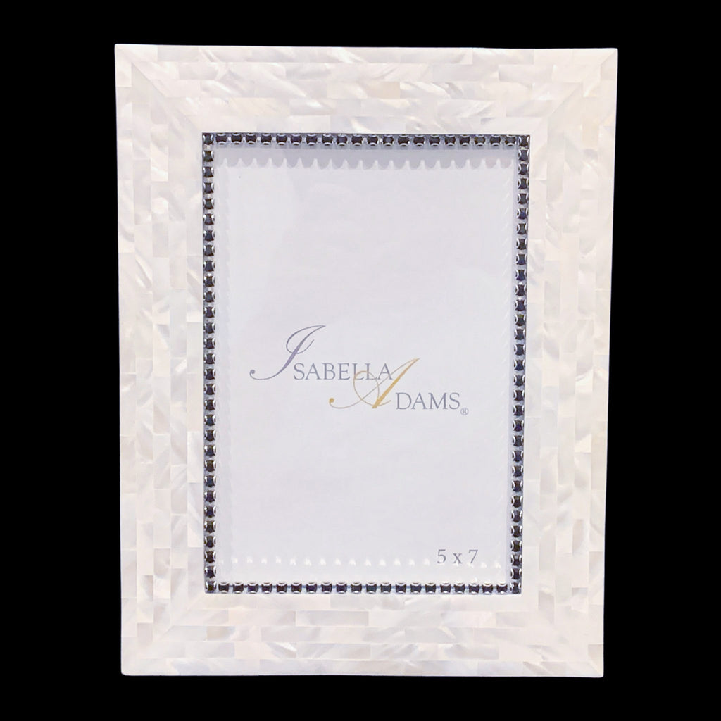 5 x 7 Mother of Pearl Jet Picture Frame Featuring Swarovski © Crystal