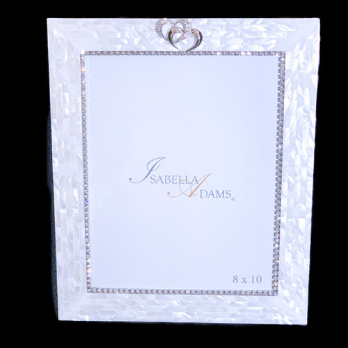 8 x 10 Mother of Pearl Locking Hearts Picture Frame Featuring Swarovski ® Crystal