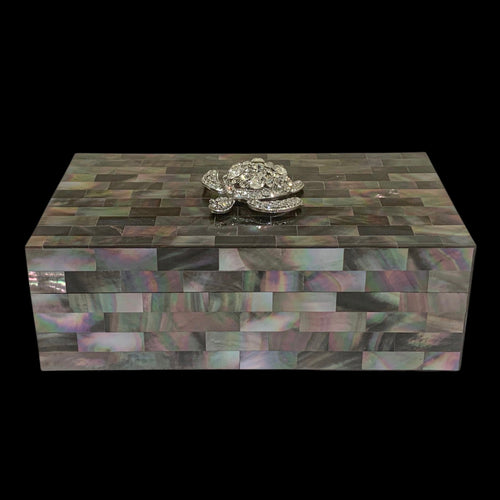 Black Mother of Pearl Jewelry Box Featuring Crystallized Turtle