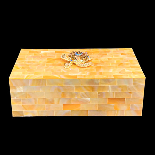 Champagne Mother of Pearl Jewelry Box Featuring Turtle