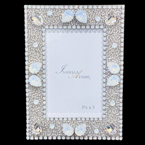 3.5 x 5 White Opal Crystallized Picture Frame Featuring Swarovski © Crystal