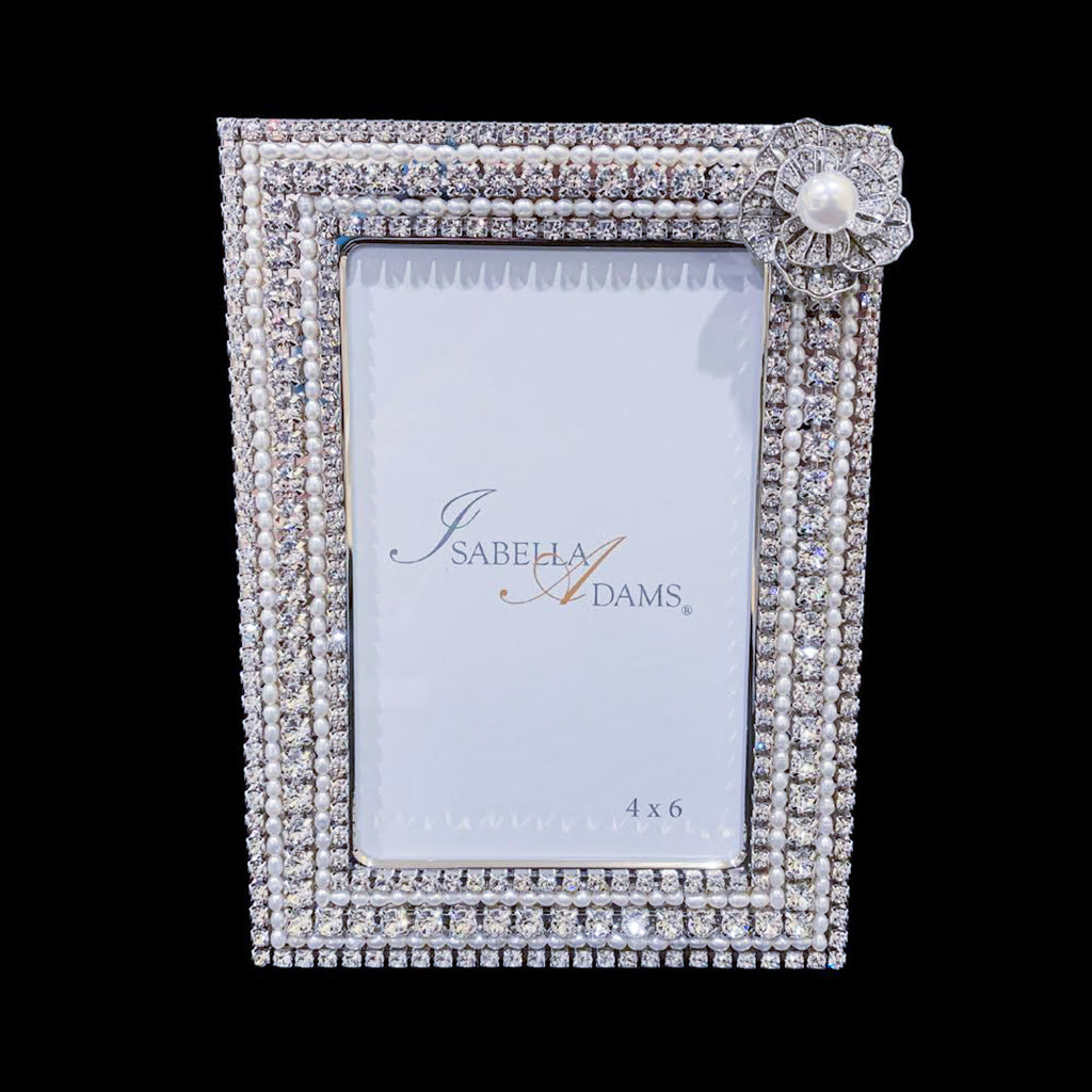 4 x 6 Pearl & Crystal Picture Frame Featuring Swarovski ® Crystal
