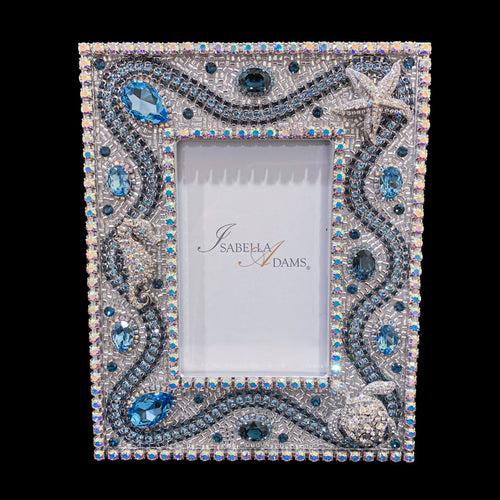 5 x 7  Sea Life Picture Frame featuring Aquamarine & Montana Blue Swarovski ® Crystal