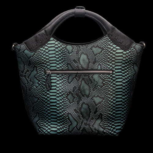 Turquoise Python Embossed Leather Roxxy Bag