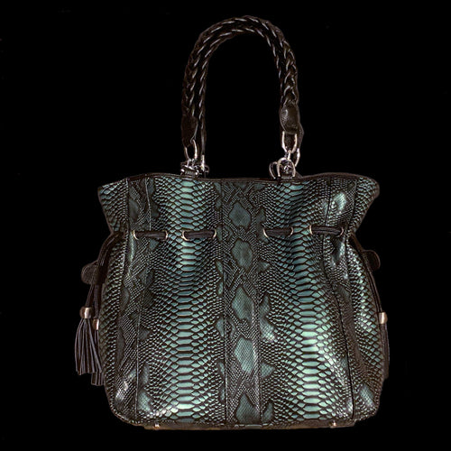 Turquoise Embossed Python Large Leather Tote Bag