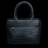 Midnight Black Croco Embossed Leather Satchel Bag