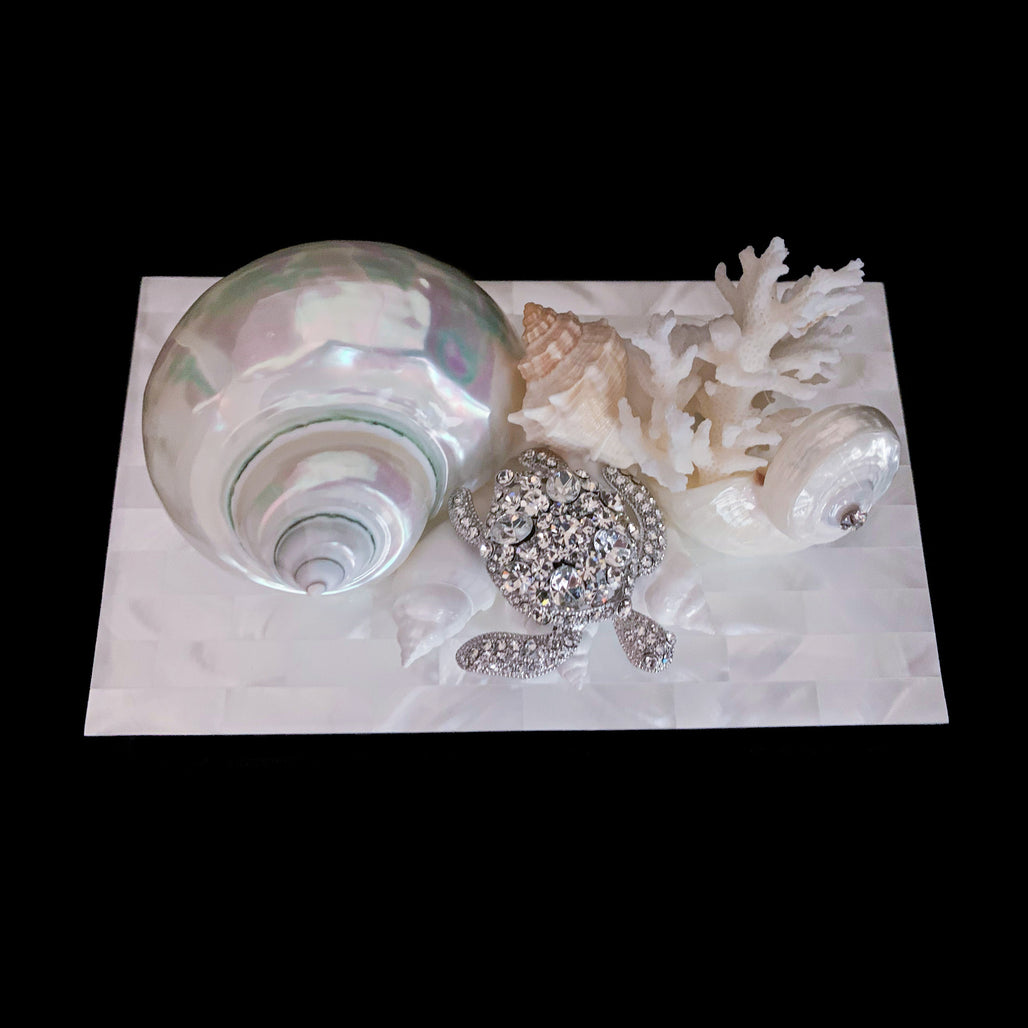 Mother of Pearl Sea Turtle Shell & Coral Cluster Jewelry Box Featuring  Swarovski © Crystal