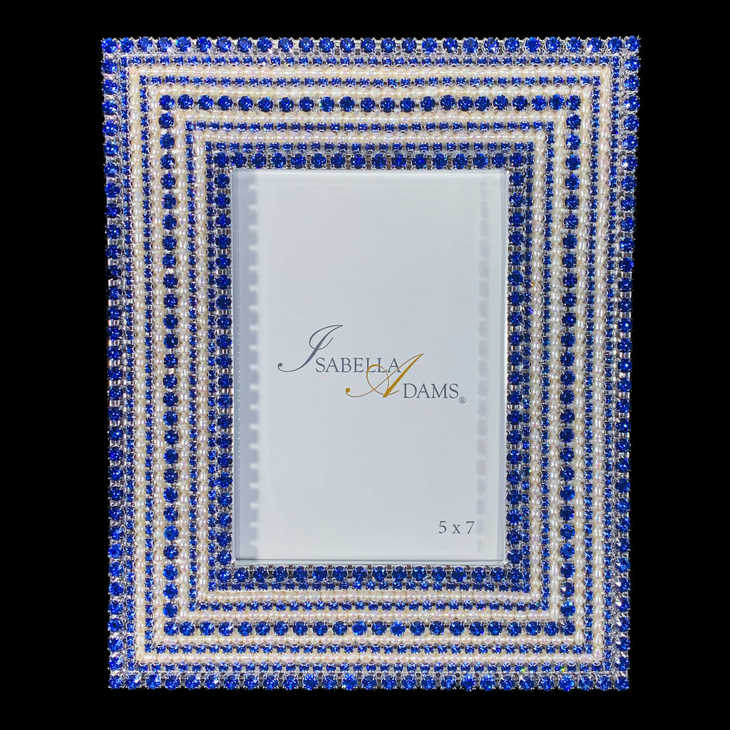 5 x 7 Pearl & Sapphire Crystal Picture Frame Featuring Swarovski ® Crystal