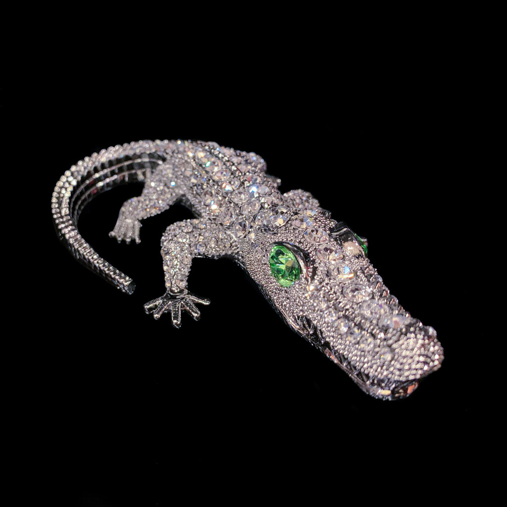 Bull Gator Paperweight Collectible Featuring Swarovski © Crystals / Peridot Eyes