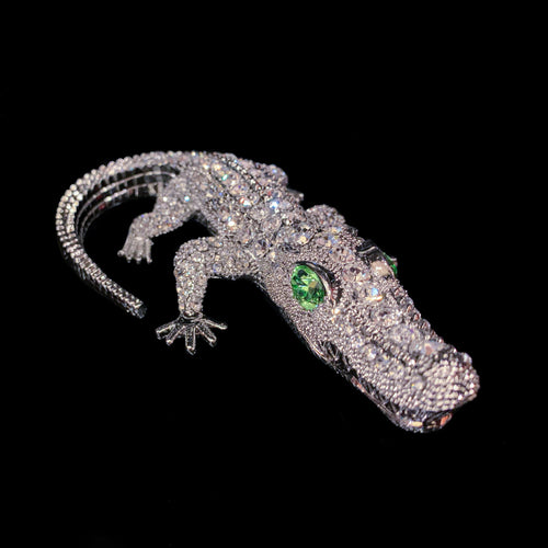 Bull Gator Paperweight Collectible Featuring Swarovski ® Crystals | Peridot Eyes